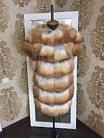 Жилетка из натуральных цельных шкур лисы с плечиками. 80 см