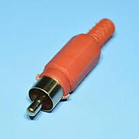 Штекер RCA кабельный, корпус пластм., красный  WTY0061B