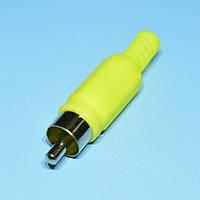 Штекер RCA кабельный, корпус пластм., желтый  WTY0061E
