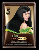 Черная Краска для волос на основе хны с индийскими травами Nisha Quick Color 5 мин
