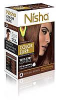 Безамиачная стойкая крем-краска для волос TM Nisha с маслом авокадо Коричневая №4м