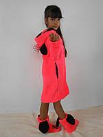 """Детский домашний коралловый махровый комплект """"Микки"""": халат+сапожки для дома. Арт-4804"""