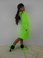 """Детский домашний салатовый махровый комплект """"Микки"""": халат+сапожки для дома. Арт-4804"""