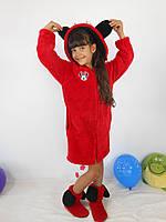 """Детский домашний красный махровый комплект """"Микки"""": халат+сапожки для дома. Арт-4804"""