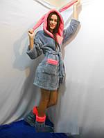 Женский домашний серый с розовыми вставками махровый комплект: халат+сапожки для дома. Арт-4805