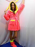 Женский домашний розовый с желтыми вставками махровый комплект: халат+сапожки для дома. Арт-4805