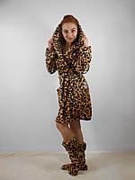 Женский домашний  леопардовый махровый комплект: халат+сапожки для дома. Арт-4806