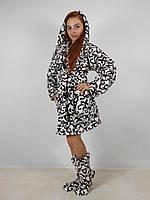 Женский домашний белый с узорами махровый комплект: халат+сапожки для дома. Арт-4806