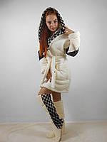 Женский домашний бежевый с черными вставками махровый комплект: халат+сапожки для дома. Арт-4807