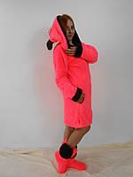 Женский домашний розовый махровый комплект Микки: халат+сапожки для дома. Арт-4808