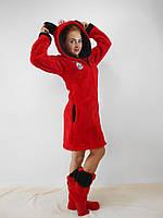 Женский домашний красный махровый комплект Микки: халат+сапожки для дома. Арт-4808