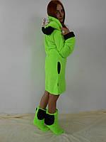 Женский домашний салатовый махровый комплект Микки: халат+сапожки для дома. Арт-4808