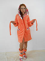 Женский домашний оранжевый с цветочными вставками махровый комплект: халат+сапожки для дома. Арт-4809