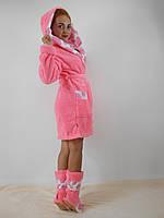 Женский домашний розовый со вставками сердечек махровый комплект: халат+сапожки для дома. Арт-4809