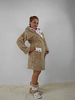 Женский домашний бежевый с цветочными вставками махровый комплект: халат+сапожки для дома. Арт-4809