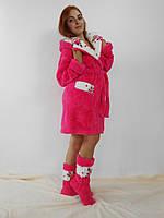 Женский домашний ярко коралловый с цветочными вставками махровый комплект: халат+сапожки для дома. Арт-4809