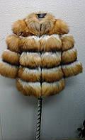 Шуба натуральная из меха рыжей лисы огневки короткая