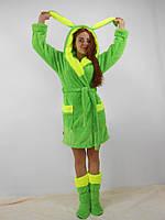 Женский домашний зеленый с желтыми вставками махровый комплект: халат+сапожки для дома. Арт-4805