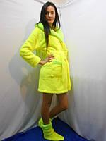 Женский домашний желтый с зелеными вставками махровый комплект: халат+сапожки для дома. Арт-4805
