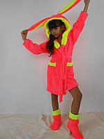 Детский домашний розовый с желтыми вставками махровый комплект: халат+сапожки для дома. Арт-4810
