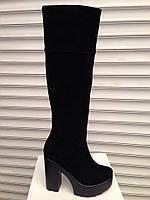 Сапоги зимние высокие, замшевые чёрные на каблуке Uk0351
