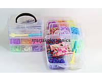 Набор резинок для плетения Loom Band LB017 (чемодан), разноцветные резинки для браслетов