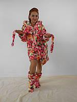 Женский домашний цветной с узорами цветов махровый комплект: халат+сапожки для дома. Арт-4811