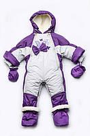 Детский зимний комбинезон-трансформер для девочки на меху Бабочки с рождения до 1 года размер 62-80
