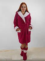 Женский домашний бордовый со вставками в горошек махровый комплект: халат+сапожки для дома. Арт-4812