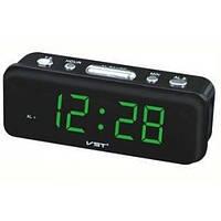 Настольные электронные сетевые часы-будильник VST 738 Green