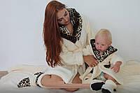 Детский домашний бежевый с леопардовыми вставками махровый комплект: халат+сапожки для дома. Арт-4814