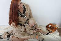 Женский домашний пепельный с леопардовыми вставками махровый комплект: халат+сапожки для дома. Арт-4813