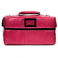 Профессиональный кейс для косметики с вынимающимся органайзером, розовый лаковый , фото 1