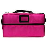 Профессиональный кейс для косметики с вынимающимся органайзером, розовый тканевый , фото 1
