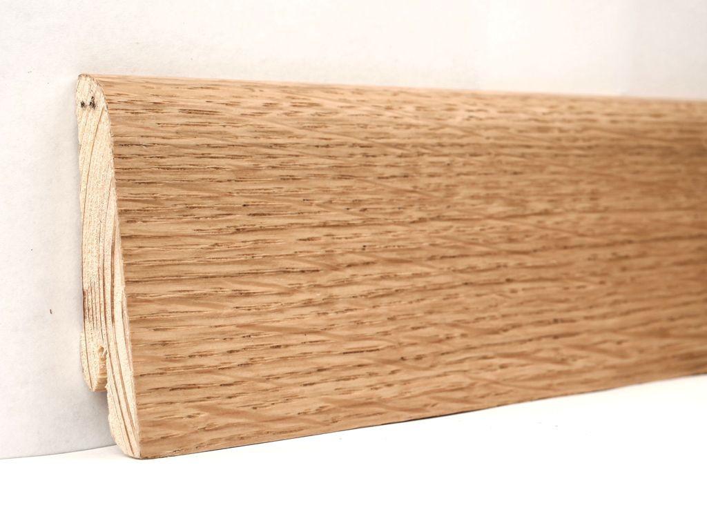 Плинтус деревянный напольный шпонированный 60х18х2400 мм., Дуб натуральный