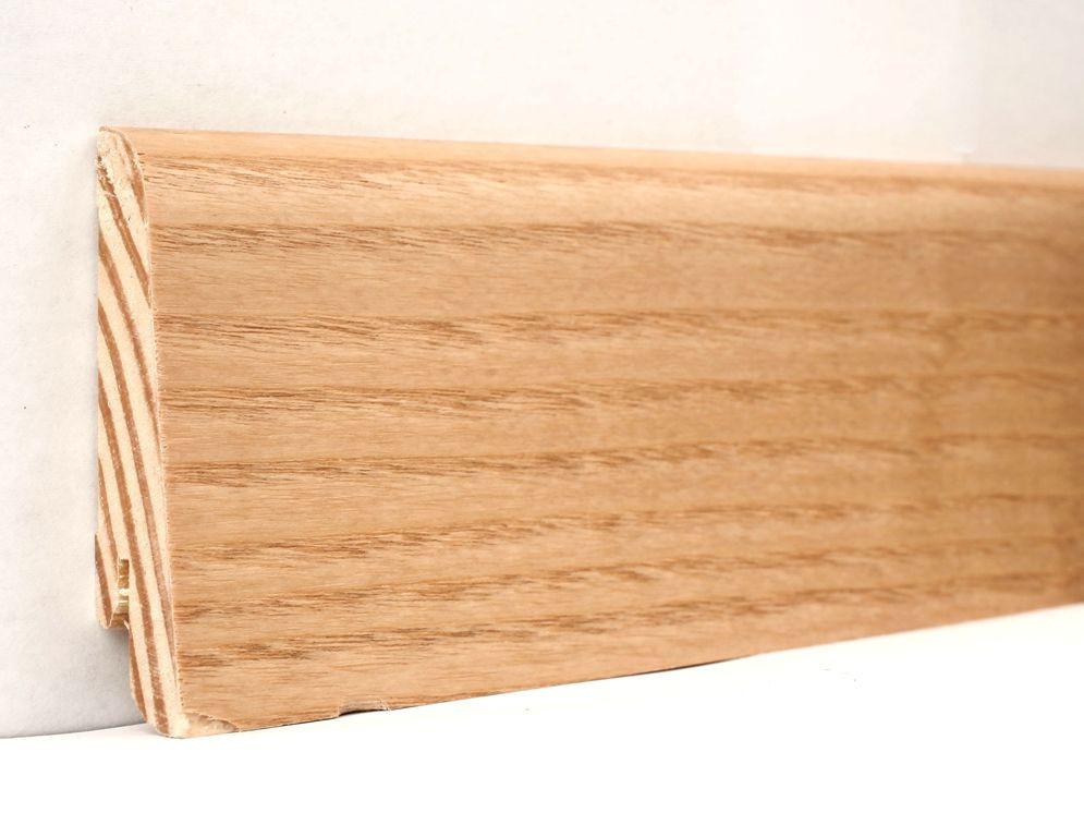 Шпонированный деревянный плинтус напольный 60х18х2400 мм.,  Ясень натуральный