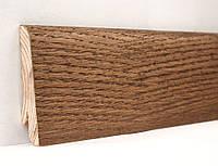 Деревянный плинтус для пола покрыт шпоном 60х18х2400мм., Дуб Мокка