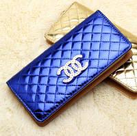 Женский кошелек в стиле CHANEL на молнии большой синий