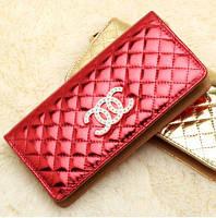 Женский кошелек в стиле CHANEL на молнии большой красный