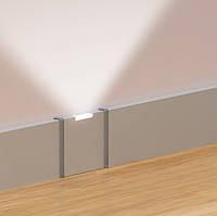 Плинтус алюминиевый с вертикальной подсветкой Серебро 11х71 мм