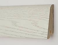 Плинтус белый напольный Дуб Арктик профиль Рустик 60х19х2200 мм., деревянный шпонированный