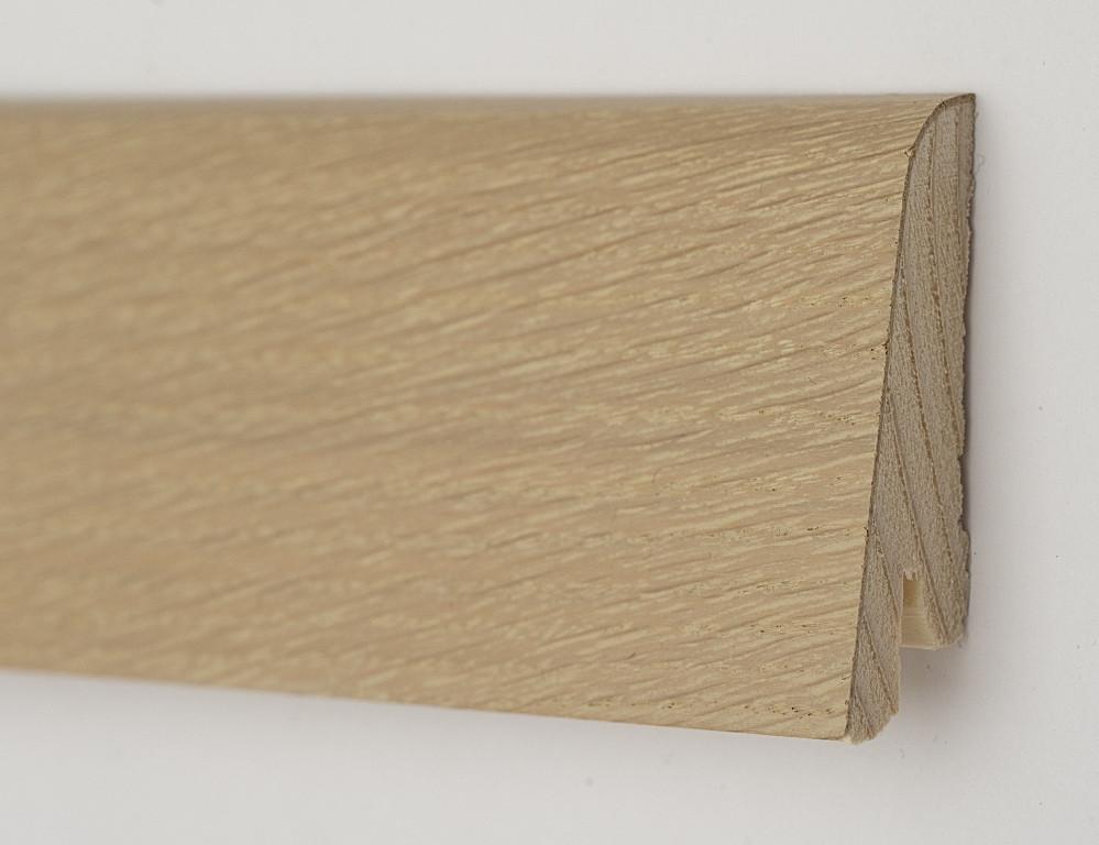 Шпонированный деревянный плинтус для пола 60х19х2200мм, Дуб Бейлиз