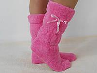 Стильные светло- розовые махровые домашние женские сапожки с бантиком. Арт-4832