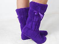Стильные фиолетовые махровые домашние женские сапожки с бантиком. Арт-4832