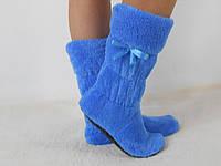 Стильные синие махровые домашние женские сапожки с бантиком. Арт-4832