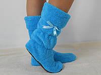 Стильные голубые махровые домашние женские сапожки с бантиком. Арт-4832