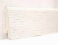 Плинтус белый Дуб напольный Профиль Евро 60х18х2400 мм., деревянный шпонированный