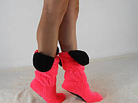 Стильные розовые махровые домашние женские сапожки с ушками. Арт-4833
