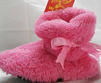 Стильные розовые махровые домашние женские сапожки с бантом. Арт-4834