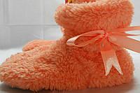 Нежные оранжевые махровые домашние детские сапожки Малыш с бантом (Турция). Арт-4838